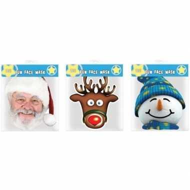 3x maskertjes met kerst thema afbeeldingen