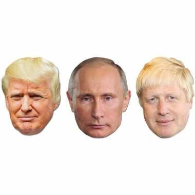 3x maskertjes met wereldleiders afbeeldingen