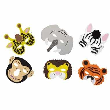 6x foam safari dieren maskertjes voor kinderen