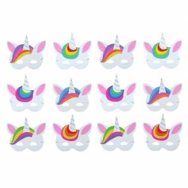 6x foam unicorn/eenhoorn dieren maskertjes voor kinderen