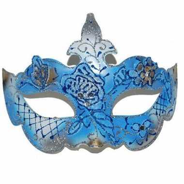 Blauw/gouden oogmasker