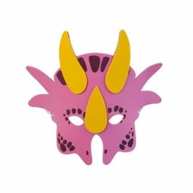 Dinosaurus masker roze 18cm