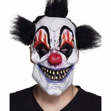Feestmasker halloween clown met zwart haar