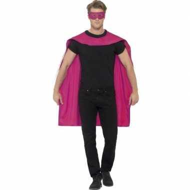 Fuchsia roze superhelden cape met masker