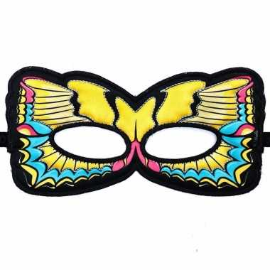 Gele zwaluwstaart oogmasker van een vlinder