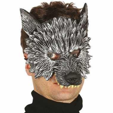 Grijze wolf monster masker van foam