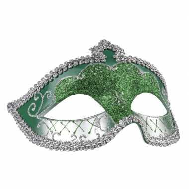 Groen/zilver glitter oog masker voor dames