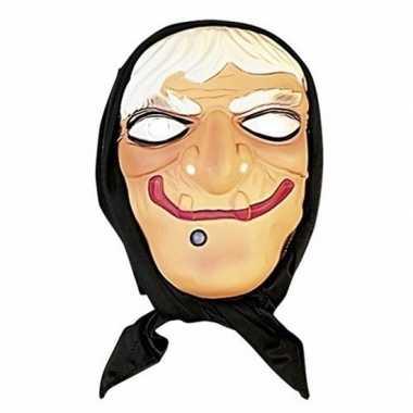 Halloween - heksen masker wit haar met hoofddoek