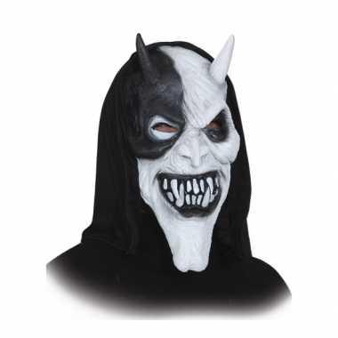 Halloween masker duivel zwart/wit