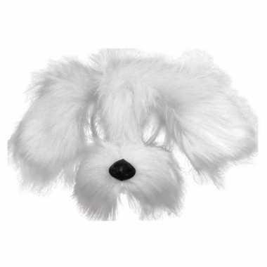 Honden masker met witte vacht