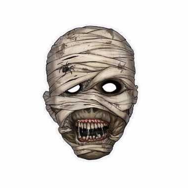 Horror halloween mummie masker 21 x 29 cm