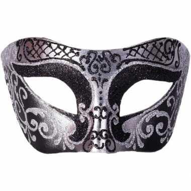 Italiaans oogmasker glitter zwart/zilver