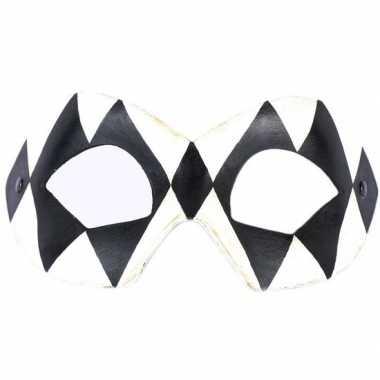 Italiaanse oogmasker harlekijn zwart/wit