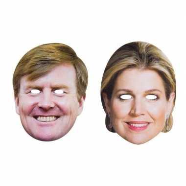 Koning willem-alexander en koningin maxima masker volwassenen
