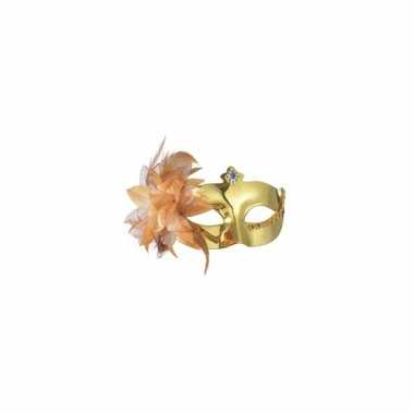 Metallic gouden oogmasker met bloem