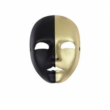 Mime masker zwart met goud