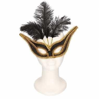 Oogmasker zwart/goud met veren voor volwassenen