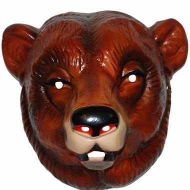 Plastic beren masker bruin voor volwassenen