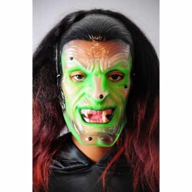 Plastic groene heks masker transparant