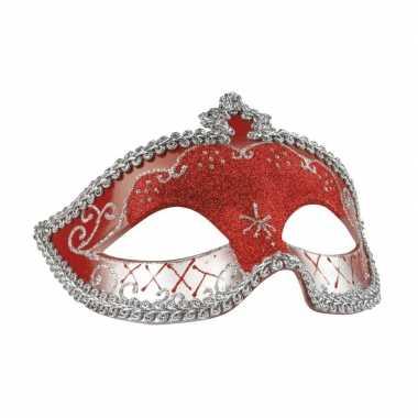 Rood/zilver glitter oog masker voor dames