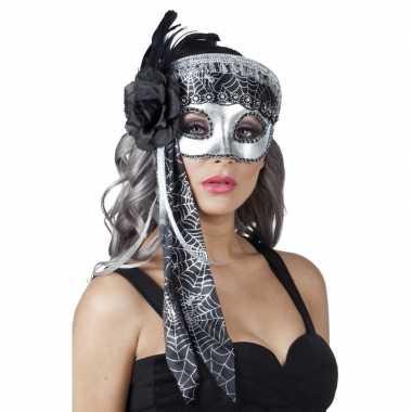 Venetiaanse oogmasker glitter zwart/zilver