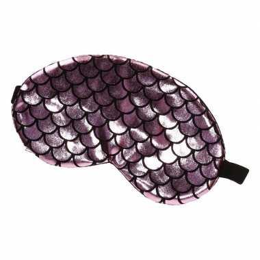 Verduisterend slaapmasker/oogmasker met roze/zwarte schubben print vo