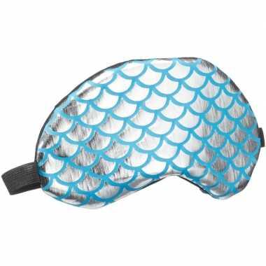 Verduisterend slaapmasker/oogmasker met zilveren/blauwe schubben prin