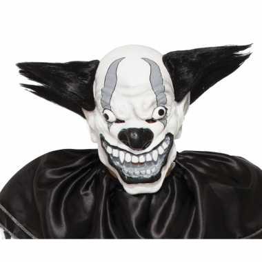 Verkleed eng zwarte clown masker van latex
