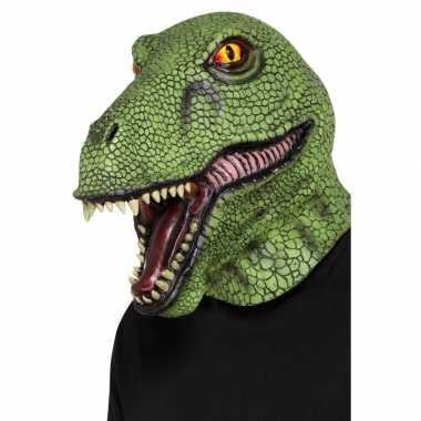 Volledige hoofdbedekkend dinosaurus masker voor volwassenen
