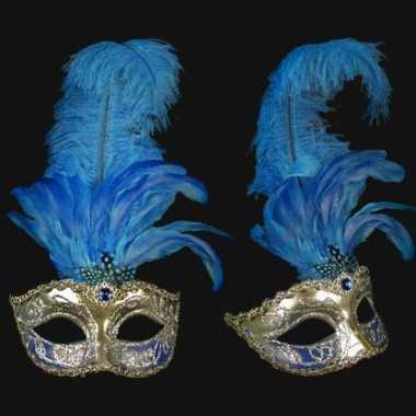 Wandversiering Italiaans blauwe veren oogmasker