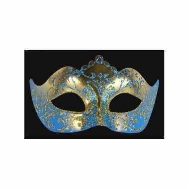 Wandversiering italiaans oogmasker blauw en goud