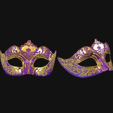 Wandversiering Italiaans oogmasker paars en goud