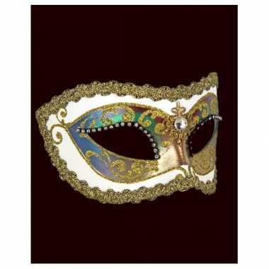 Wandversiering Italiaans oogmasker wit met strass