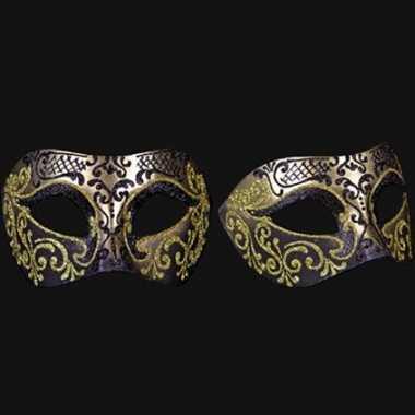 Wandversiering Italiaans oogmasker zwart en goud