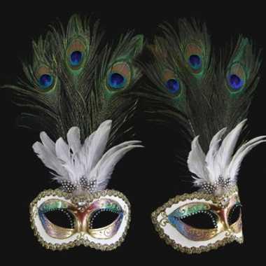 Wandversiering Italiaans pauwveren oogmasker