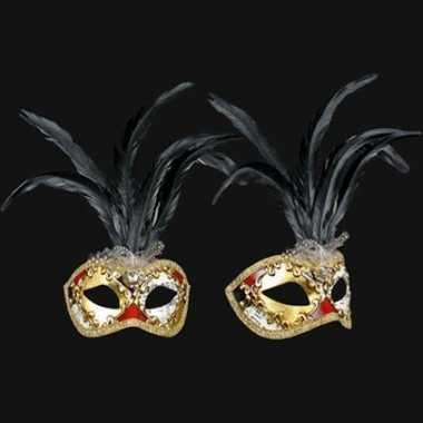 Wandversiering Italiaans zwarte veren oogmasker