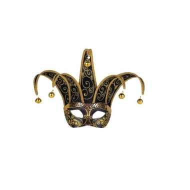 Wandversiering masker zwart/goud