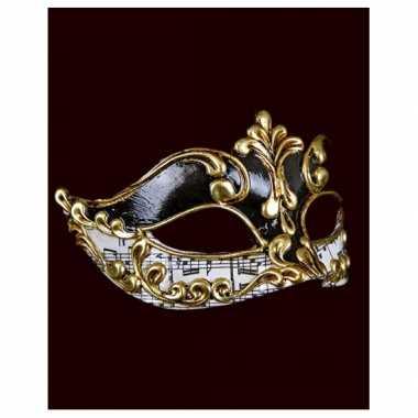 Wandversiering muzieknoten Venetiaans masker zwart/wit