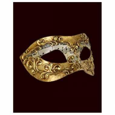 Wandversiering muzieknoten Venetiaans masker