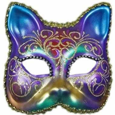 Wandversiering regenboog kat masker