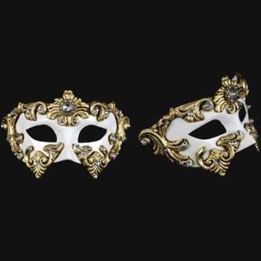 Wandversiering wit barok oogmasker