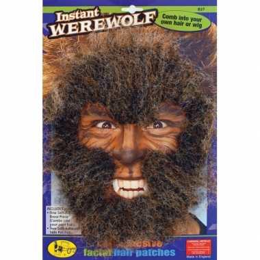 Weerwolven gezichtshaar kit masker
