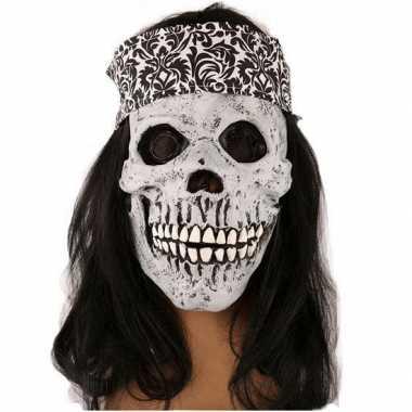 Wit schedel masker met haarband