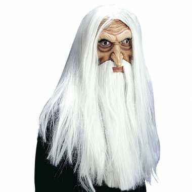 Witte tovenaar masker met pruik, snor en baard