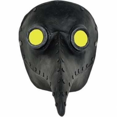 Zwart halloween snavel masker pestdokter