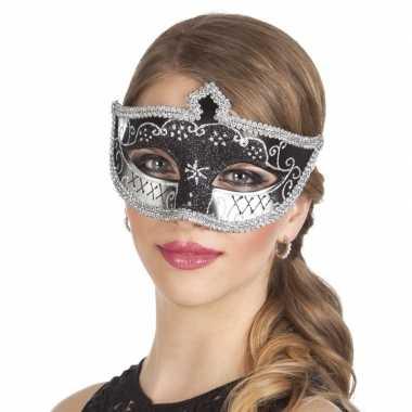 Zwart/zilver glitter oog masker voor dames