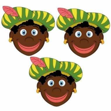 Zwarte pieten feestmaskers voor kinderen 3 stuks