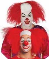 Halloween clown pruik rood voor volwassenen masker