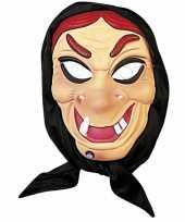 Halloween heksen masker rood haar met hoofddoek