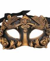 Wandversiering zwart met brons oogmasker